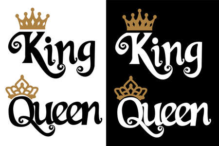 Illustration for King and queen - couple design. Black text and gold crown isolated on white background. Can be used for printable souvenirs (t-shirt, pillow, magnet, mug, cup). Icon of wedding invitation. - Royalty Free Image