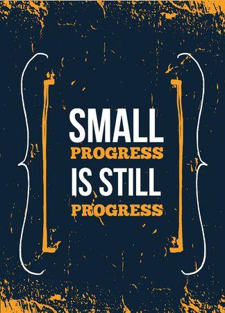 Ilustración de Small progress poster design. Fitness vector motivation print. Success life typography - Imagen libre de derechos