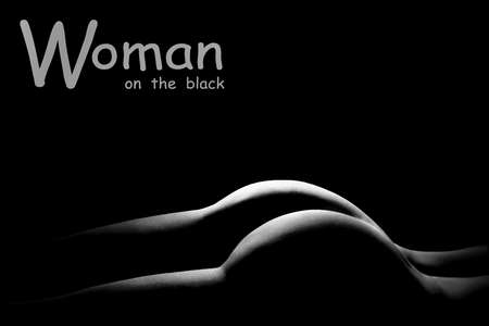 Photo for Sexy body nude woman buttocks. Sensual beautiful back. Black and white photo. - Royalty Free Image