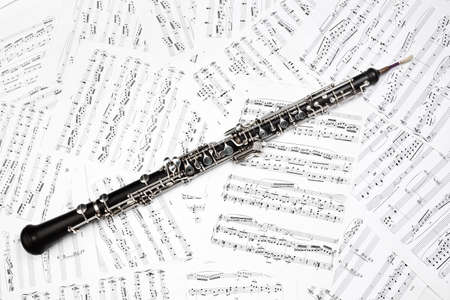 Photo for Oboe with music sheet notes classical musical instruments - Royalty Free Image