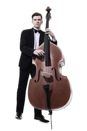 Photo for Double bass player contrabass playing. Classic musician Jazz bass isolated on white - Royalty Free Image