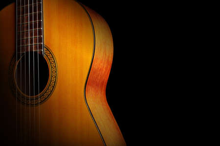 Photo for Acoustic guitar classical spanish guitar close up. Musical instruments closeup - Royalty Free Image