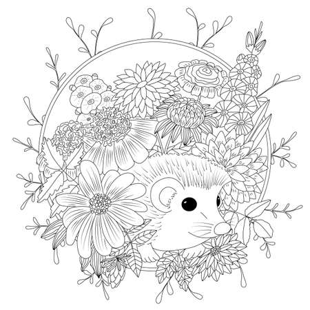 Illustration pour Vector illustration hedgehog with flowers. Coloring book anti stress for adults. Black and white. - image libre de droit