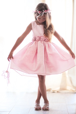 Photo pour Beautiful little girl wearing fairy costume with magic wand - image libre de droit
