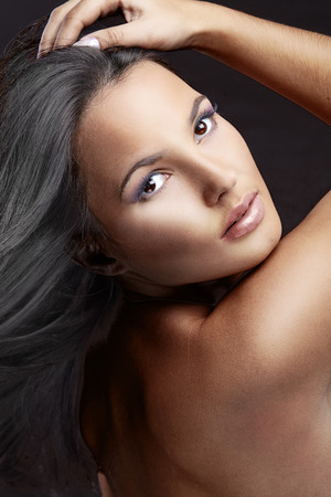 Photo for Portrait of beautiful woman with perfect make up and glossy hair - Royalty Free Image
