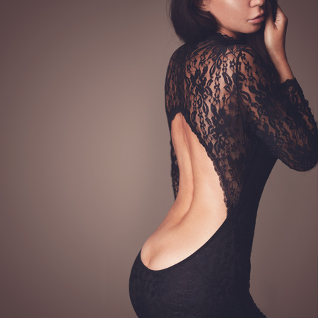 Photo for Fashion photo of beautiful lady dressed in evening black lace dress - Royalty Free Image