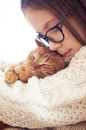 Photo pour Cute ginger cat sleeps warming in knit sweater on his owner's hands - image libre de droit
