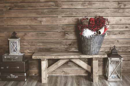 Photo pour Winter home decor. Christmas rustic interior. Farmhouse decoration style. - image libre de droit