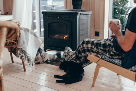 Foto de Family and cat relaxing in armchair by the fire place in wooden cabin. Warm and cozy winter holiday concept. - Imagen libre de derechos