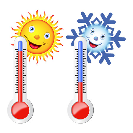 Illustration pour Two thermometers, high and low temperature. Sun and snowflake with a smile. Vector image. - image libre de droit