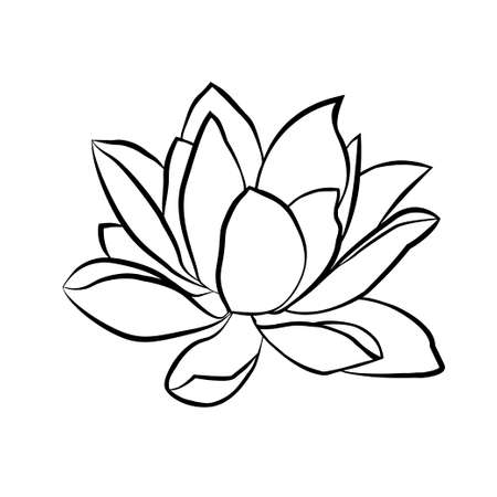Ilustración de Lotus flowers icon. The black line drawn on a white background - Imagen libre de derechos