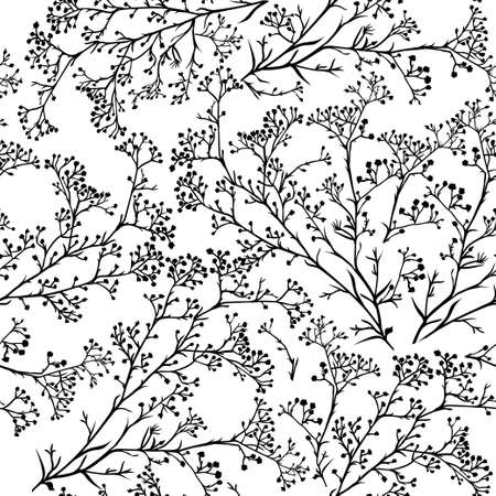 Foto für Seamless background with branches of beautiful hand-drawn silhouette gypsophila in black and white colors. Vector illustration - Lizenzfreies Bild