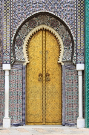 Photo for Golded door of Royal Palace in Fes, Morocco - Royalty Free Image