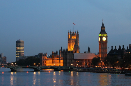 London night skyline with Houses of Parliament and Big Ben