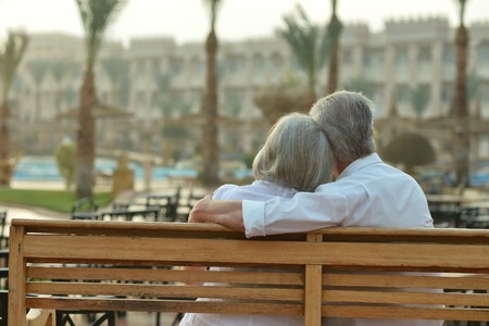 Photo for Happy Mature couple enjoy fresh air and stunning view on vacation - Royalty Free Image