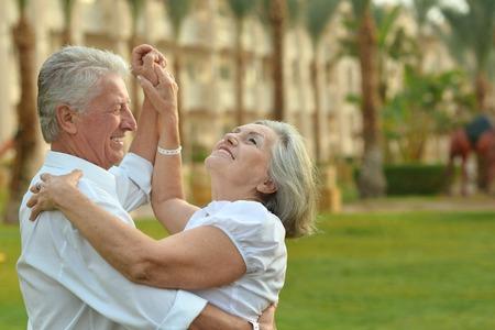 Foto de Happy Mature couple in love enjoy vacation - Imagen libre de derechos