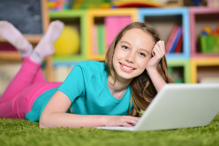 Photo for girl using modern laptop - Royalty Free Image