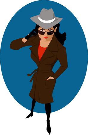Ilustración de Female secret agent or private detective - Imagen libre de derechos