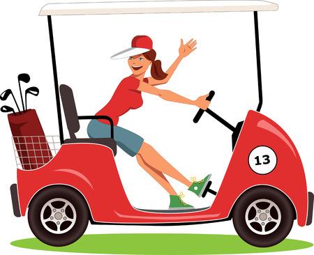 Ilustración de Cartoon female golfer in a cart smiling and waving, isolated on white, vector illustration - Imagen libre de derechos