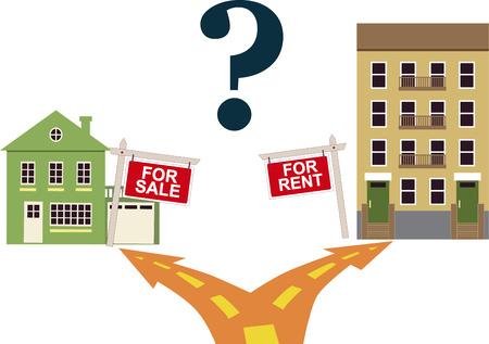 Illustration pour To rent or buy concept - image libre de droit