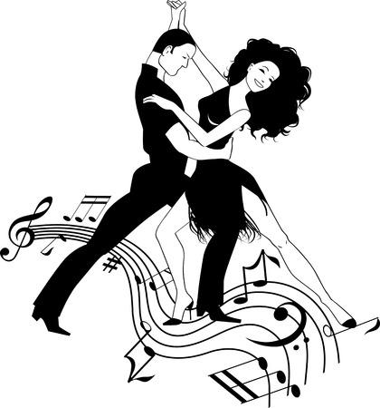 Ilustración de Couple dancing Latin on a whirly musical stave, black and white vector clipart - Imagen libre de derechos
