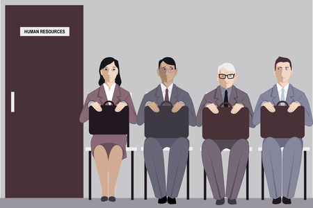 Illustration pour Elderly man sitting in a line to the interview with human resources among much younger job applicants, vector illustration - image libre de droit