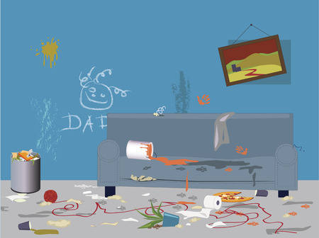 Illustration pour Interior of a living room filled with garbage, mess, paint tracks and signs of children and pets activities - image libre de droit