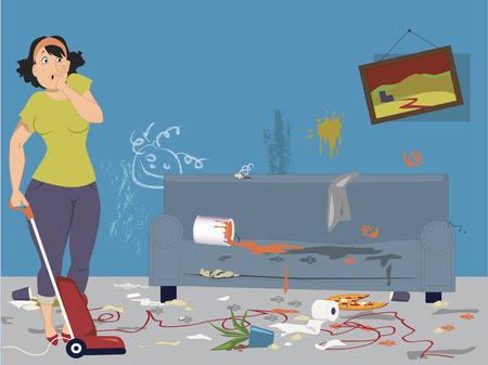 Illustration pour Shocked woman with vacuum cleaner standing in a dirty messy room with signs of pets and children activities, vector illustration - image libre de droit