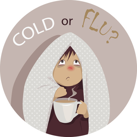 Ilustración de Common cold or flu? A sick person, wrapped in blanket, holding a cup of hot beverage and looking at the question \Cold or Flu?\ above his head, no transparencies EPS 8 vector cartoon - Imagen libre de derechos
