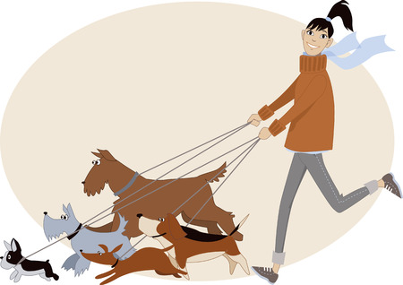 Illustrazione per Dog walker. Young woman running with a group of dogs of different breeds, vector cartoon, no transparencies - Immagini Royalty Free