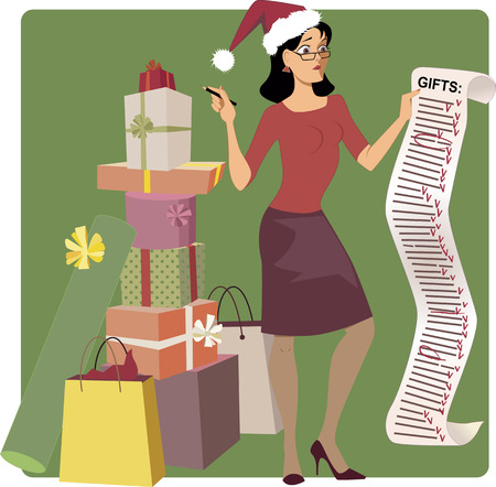 Illustration pour Stressed woman in a Santa hat crossing out names from a long Christmas shopping list, pile of gifts at her feet, vector cartoon - image libre de droit