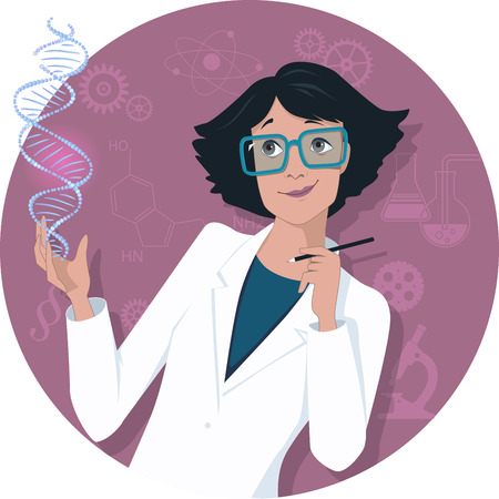 Illustration pour Female scientist - image libre de droit