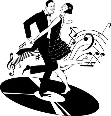 Ilustración de Black and white vector clip-art of a couple dressed in 1920s fashion dancing the Charleston on a gramophone record - Imagen libre de derechos