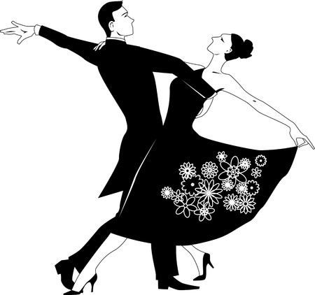 Illustration pour Black vector silhouette clip art of a couple dancing waltz, no white, will look the same on any color background - image libre de droit