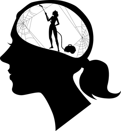 Ilustración de Black female profile with a silhouette of woman, cleaning cobweb, black vector silhouette, no white - Imagen libre de derechos