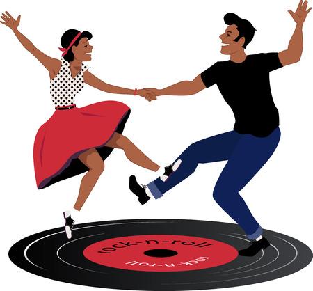 Illustration pour Rockabilly couple dancing on a vinyl record - image libre de droit