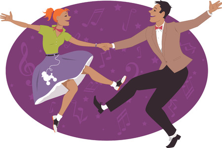 Illustration pour Couple dancing 1950s style rock and roll - image libre de droit