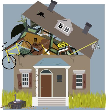 Ilustración de Hoarder\'s house overflown with accumulated stuff, vector illustration - Imagen libre de derechos