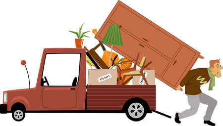 Illustrazione per An exhausted man loading a truck with furniture, vector illustration - Immagini Royalty Free