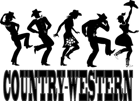 Ilustración de Silhouette of people dressed in Western style clothes, dancing, words \\\country-western\\\ on the bottom, no white, EPS 8 - Imagen libre de derechos