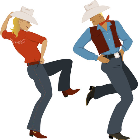 Illustration pour Young couple dressed in traditional Western style attire, cowboy boots and stetson hats, dancing, vector illustration, no transparencies, EPS 8 - image libre de droit