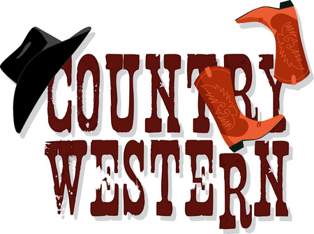 Illustration pour Country Western banner with Stetson hat and cowboy boots, vector illustration, no transparencies, EPS 8 - image libre de droit