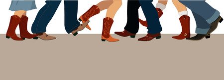 Ilustración de Horizontal banner with male and female legs in cowboy boots dancing country western, vector illustration, no transparencies, copy space at the bottom - Imagen libre de derechos