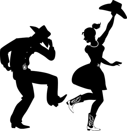 Illustration pour Black silhouette of a couple dressed in traditional Western style clothes, cowboy boots and hats, dancing, no white, EPS 8 - image libre de droit