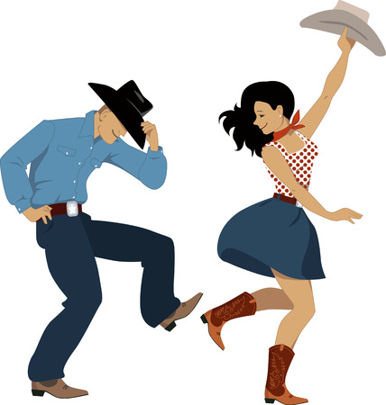Illustration pour Cowboy and cowgirl dancing country western dance, isolated on white, vector illustration, no transparencies, EPS 8 - image libre de droit