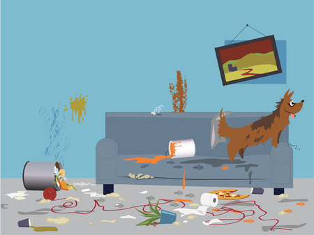 Illustration pour Interior of a very messy room, turned upside down by an energetic happy dog, sitting on a torn dirty couch, vector illustration, no transparencies,  - image libre de droit