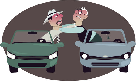 Illustration pour Two angry motorists strangling each other, leaning out of their cars, vector cartoon, no transparencies - image libre de droit