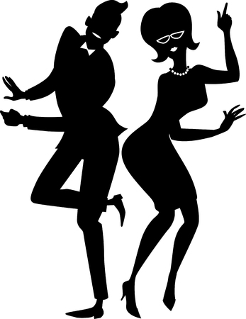 Illustration pour Black vector silhouette of a young stylish couple dressed in late 1950s early 1960s fashion dancing the Twist  EPS 8 - image libre de droit