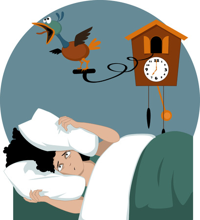 Illustration for Stressed woman lying in her bed early in the morning  burying her head in pillows trying to muffle a cuckoo clock vector illustration no transparencies EPS 8 - Royalty Free Image
