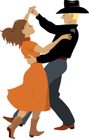 Illustration pour Couple dressed in Western country clothes dancing polka - image libre de droit